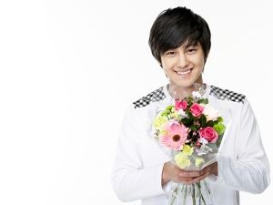 kim bum with flowers